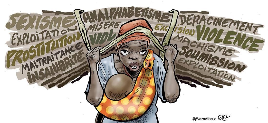 dessin humoristique représentant les violences faites aux femmes