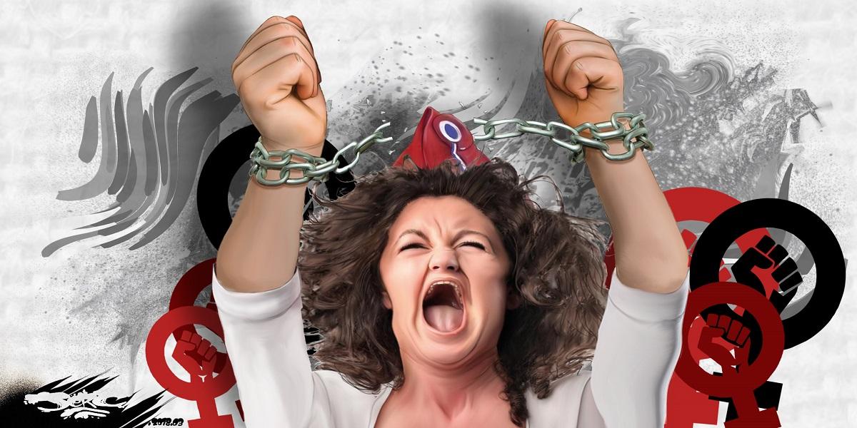 dessin humoristique d'une femme se libérant des chaînes du patriarcat