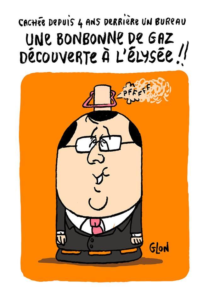 dessin drôle de François Hollande en bonbonne de gaz
