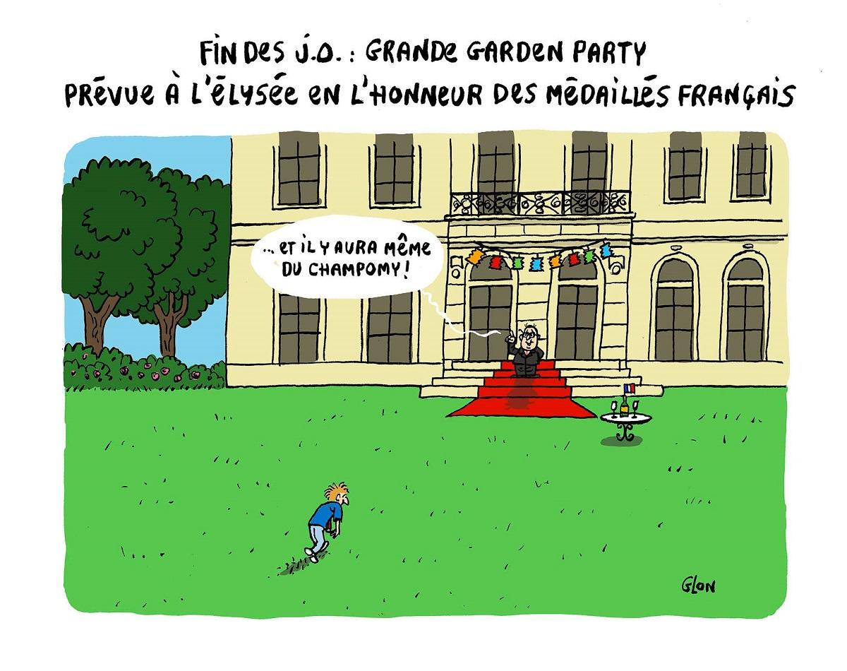dessin humoristique de la garden-party de François Hollande pour les médaillés des Jeux Olympiques