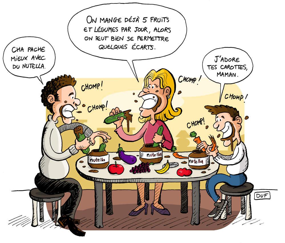 dessin d'actualité montrant une famille qui mange du Nutella après l'émeute dans les supermarchés