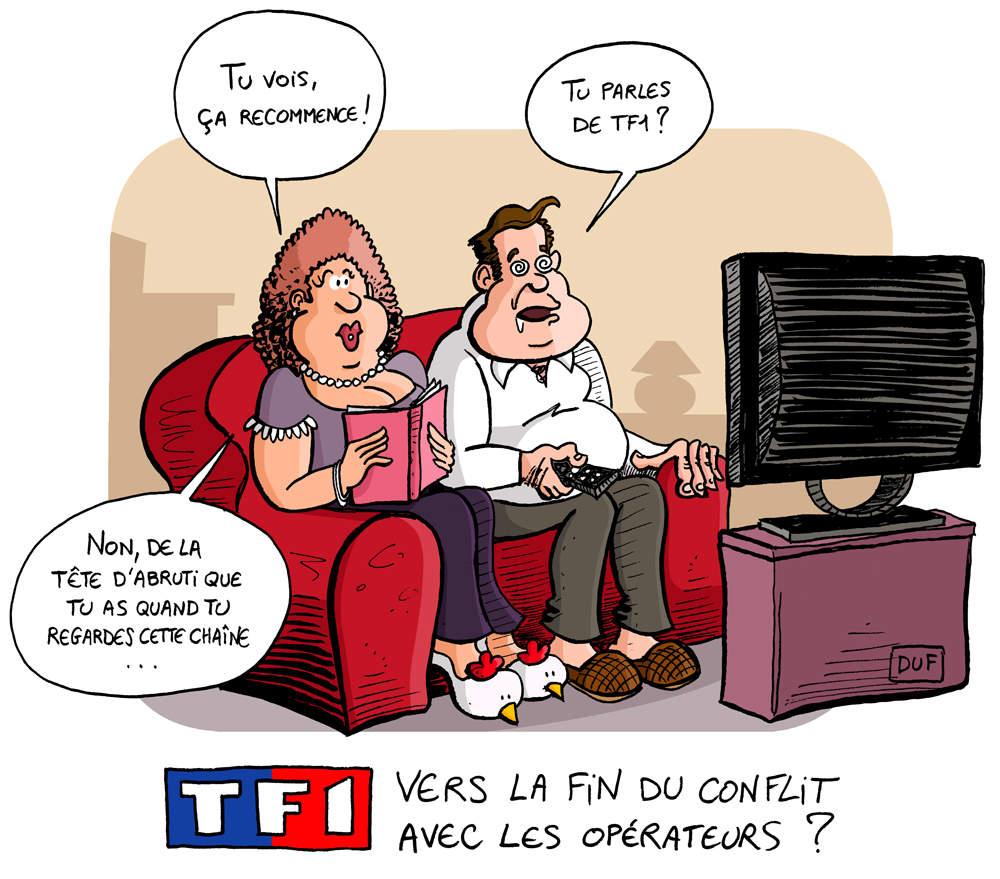 dessin humoristique de téléspectateur devant TF1