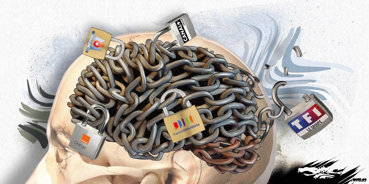 dessin humoristique d'un cerveau de téléspectateur verrouillé par les opérateurs