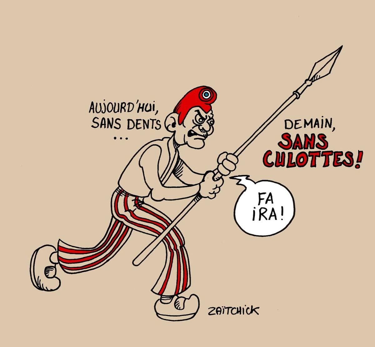 dessin humoristique d'un Français exaspéré par la politique actuelle et déclenche la révolution