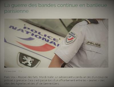actualité parlant de la guerre des bandes en banlieue parisienne