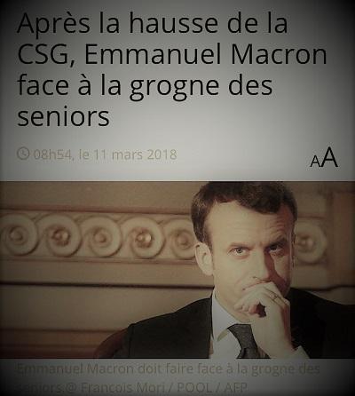 copie d'écran d'actualité parlant du problème d'Emmanuel Macron avec les retraités après la hausse de la CSG