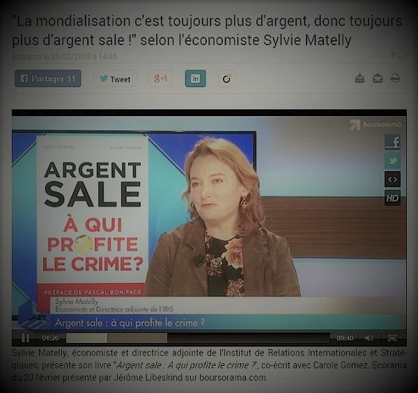 copie d'écran d'actualité présentant le livre de l'économiste Sylvie Matelly sur l'argent sale de la mondialisation