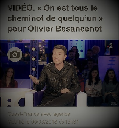 copie d'écran d'actualité montrant Olivier Besancenot mettant en garde les Français contre la division