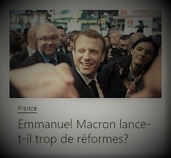 copie d'écran d'Europe 1 s'interrogeant sur le fait qu'Emmanuel Macron lance trop de réformes