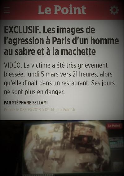 copie d'écran d'actualité parlant de l'agression d'un homme dans un restaurant parisien au sabre et à la machette