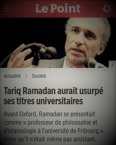 copie d'écran d'actualité parlant de Tariq Ramadan et de l'usurpation de ses titres universitaires