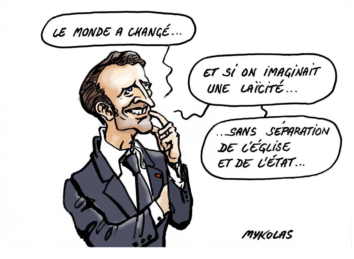 dessin humoristique illustrant la pensée d'Emmanuel Macron sur la laïcité