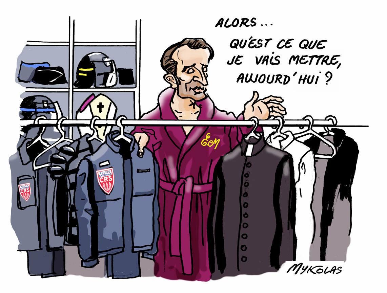 dessin d'actualité drôle montrant Emmanuel Macron choississant son déguisement de la journée