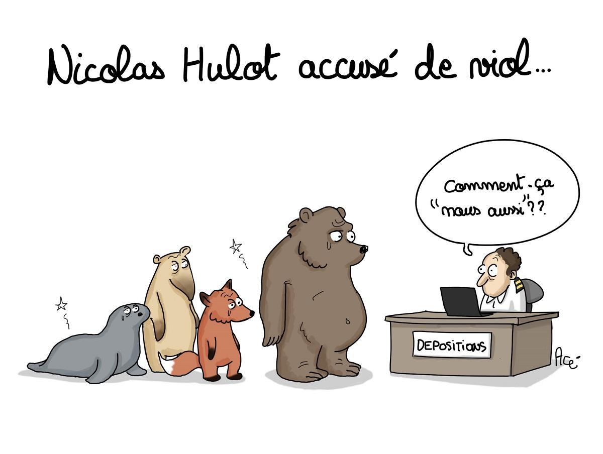 dessin d'actualité humoristique montrant des animaux venant déposer plainte pour viol contre Nicolas Hulot