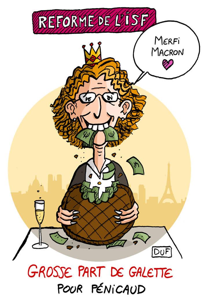 dessin d'actualité humoristique sur la réforme de l'ISF