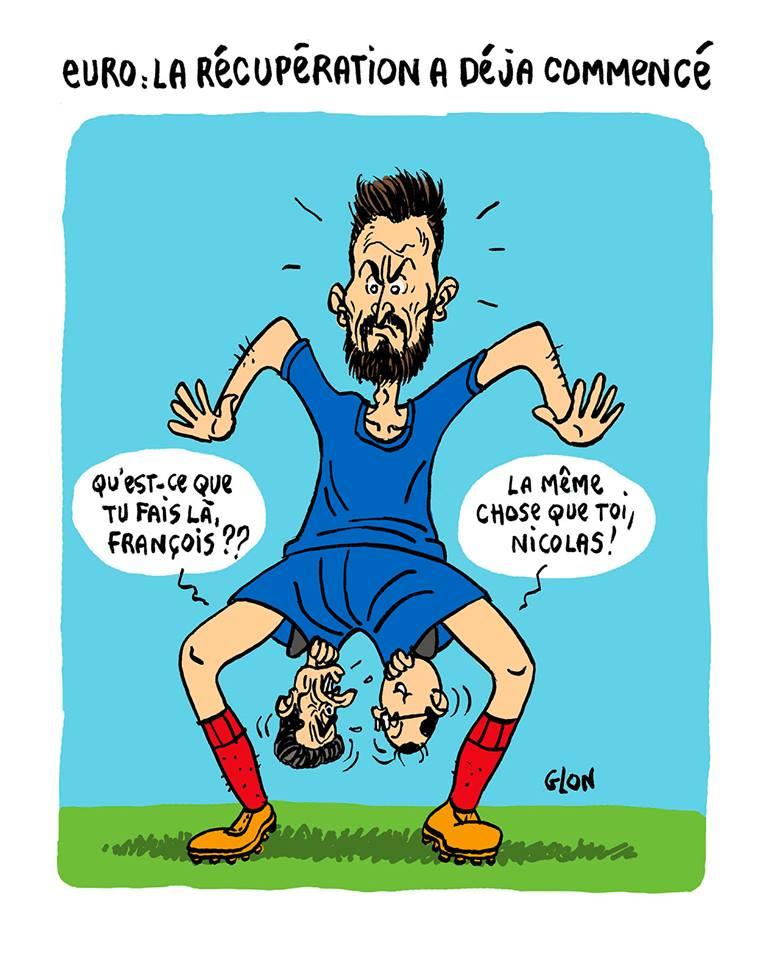 dessin d'actualité humoristique montrant Nicolas Sarkozy et François Hollande dans le maillot d'Olivier Giroud