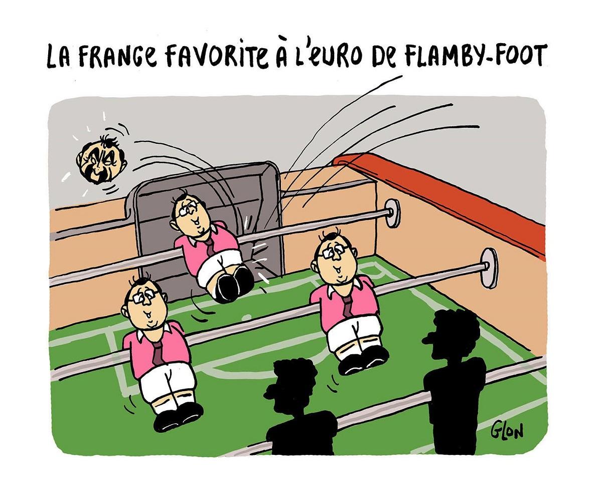 dessin d'actualité humoristique d'un baby-foot avec François Hollande et Philippe Martinez