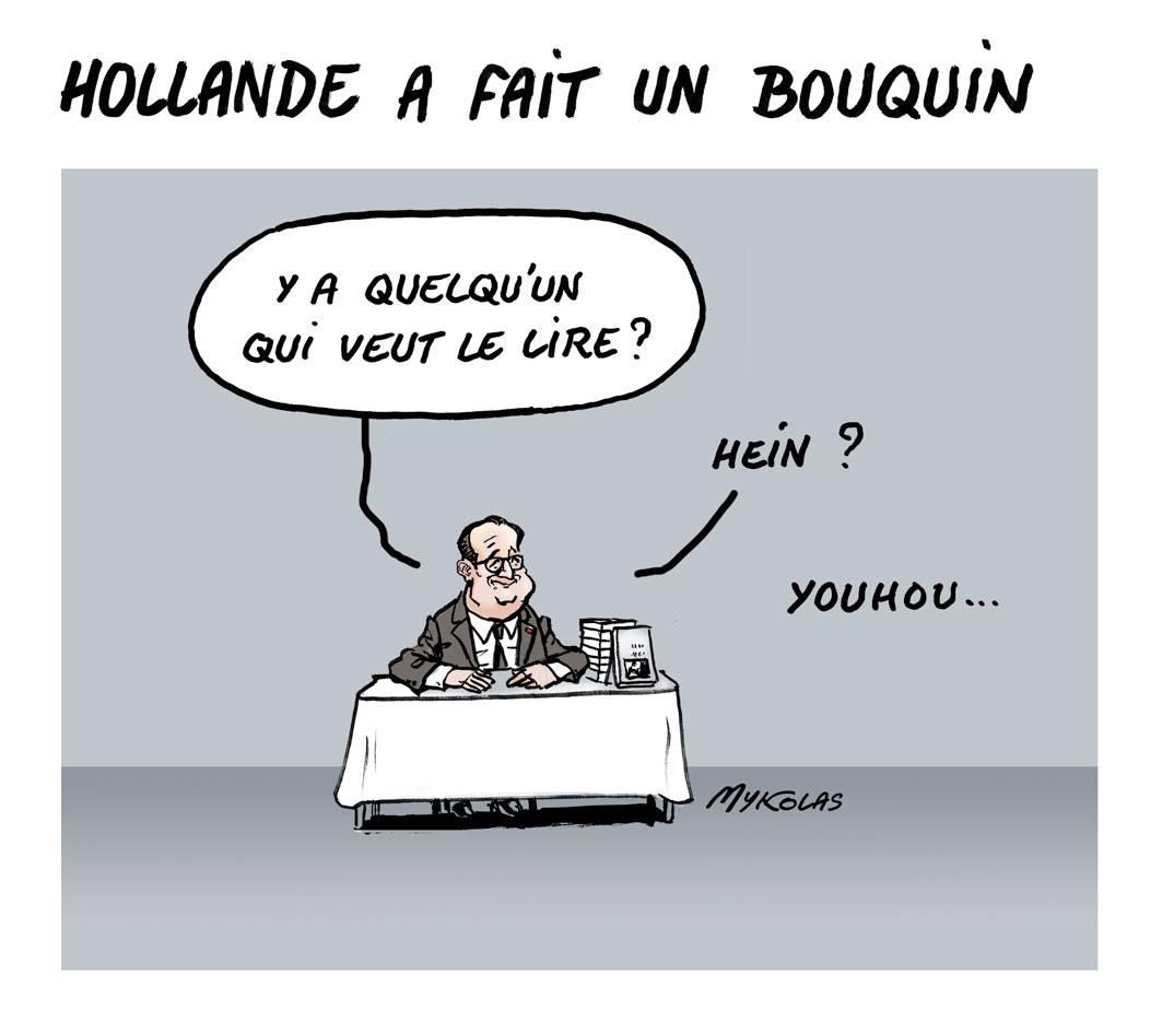 dessin d'actualité humoristique montrant François Hollande en séance de dédicace pour son livre