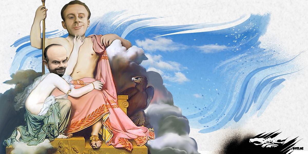 dessin d'actualité humoristique d'Emmanuel Macron et Édouard Philippe en dieux de la grève