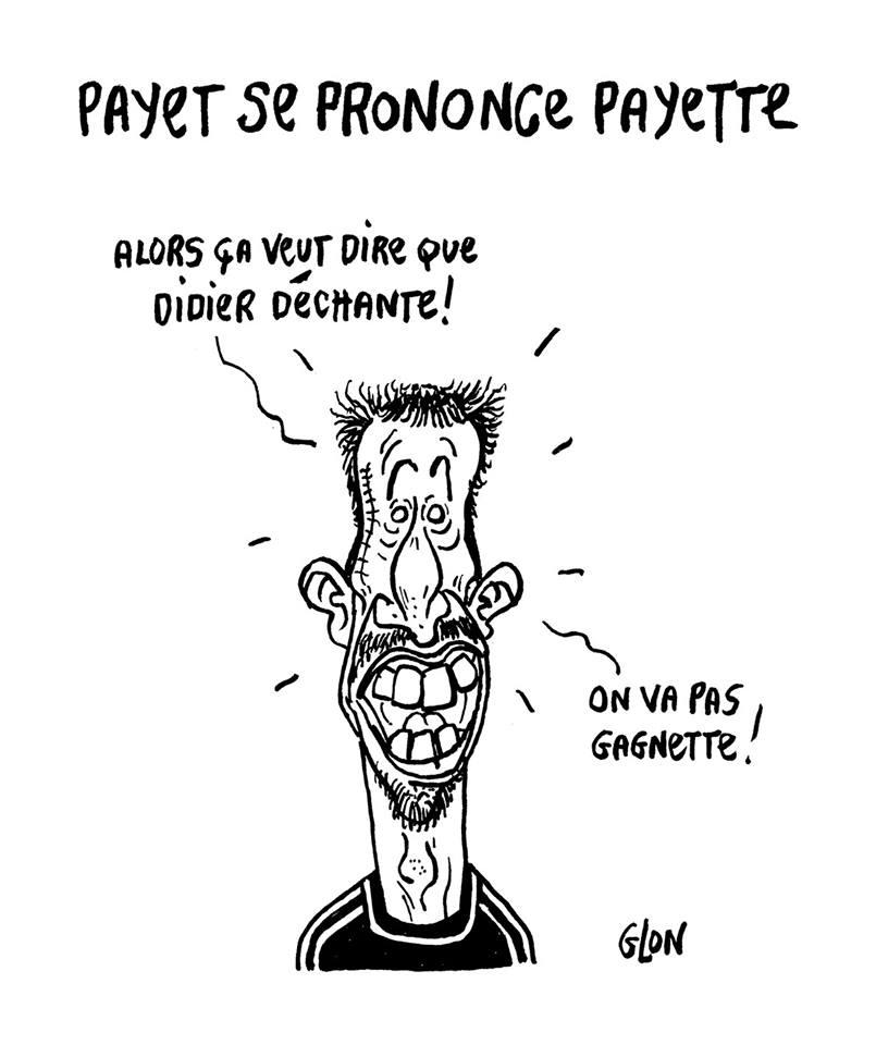 dessin d'actualité humoristique de Franck Ribéry qui parle de la prononciation du nom de Dimitri Payet