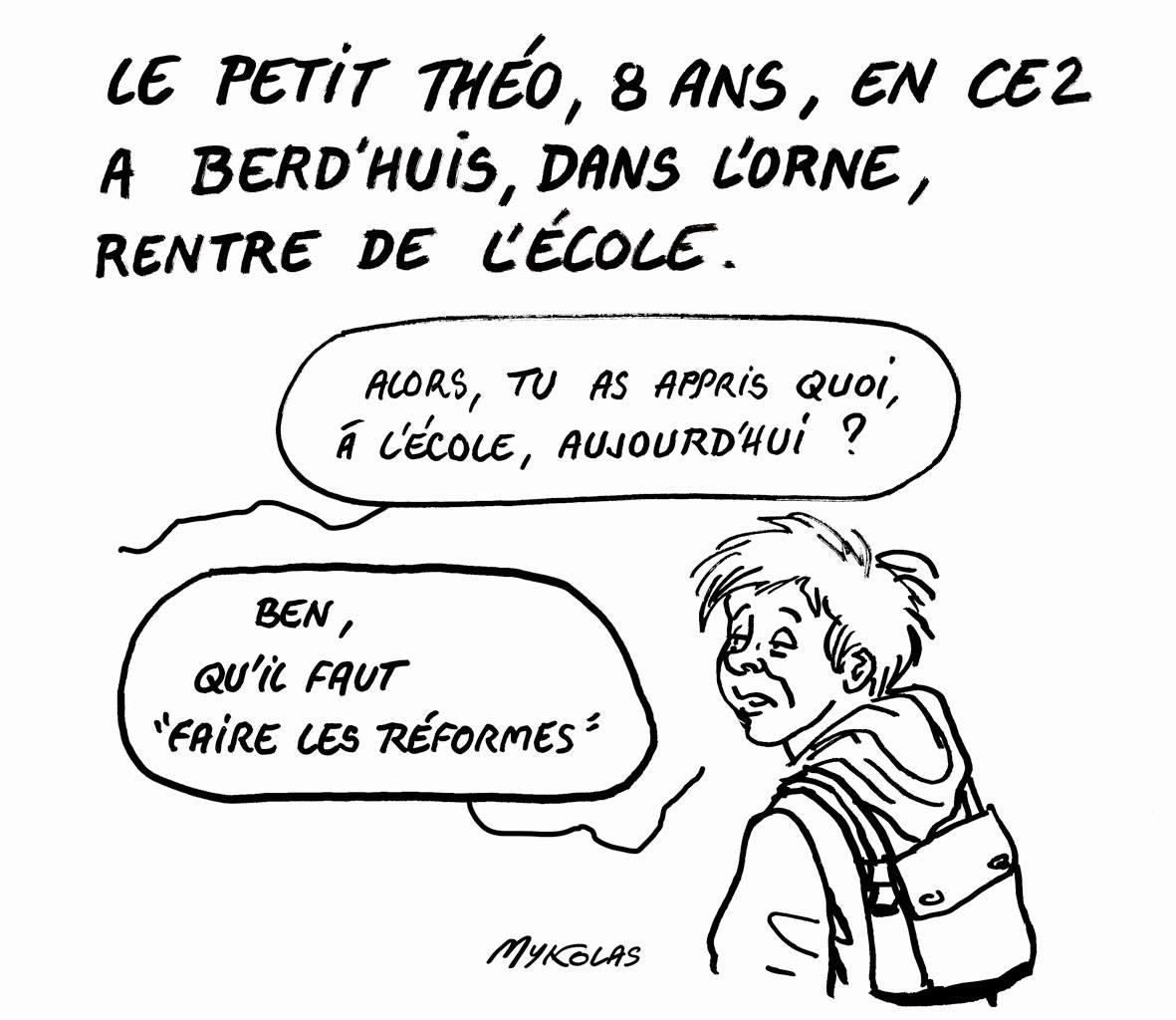 dessin d'actualité d'un écolier de Berd'huis, dans l'Orne, qui rentre de l'école après avoir reçu la leçon d'Emmanuel Macron