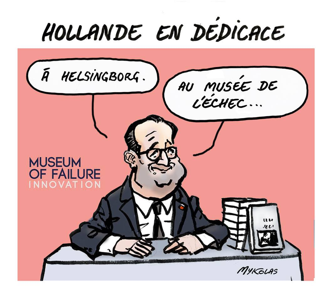 dessin d'actualité montrant François Hollande dédicaçant son livre au musée de l'échec à Helsingborg