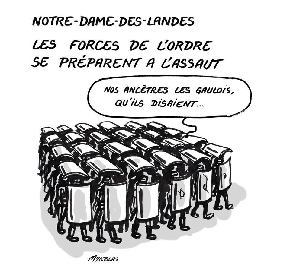 dessin d'actualité montrant les forces de l'ordre se préparant à l'assaut à Notre-Dame-Des-Landes