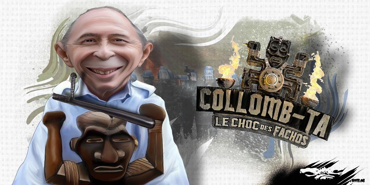 dessin d'actualité humoristique de Gérard Collomb maniant le totem matraque de Koh-Lanta