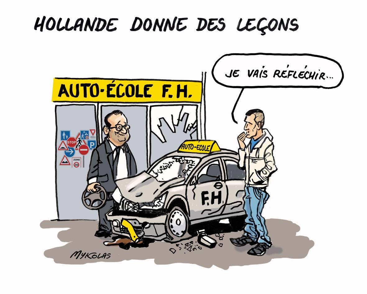 dessin d'actualité montrant François Hollande reconverti en auto-école politique donnant des leçons de bonne conduite