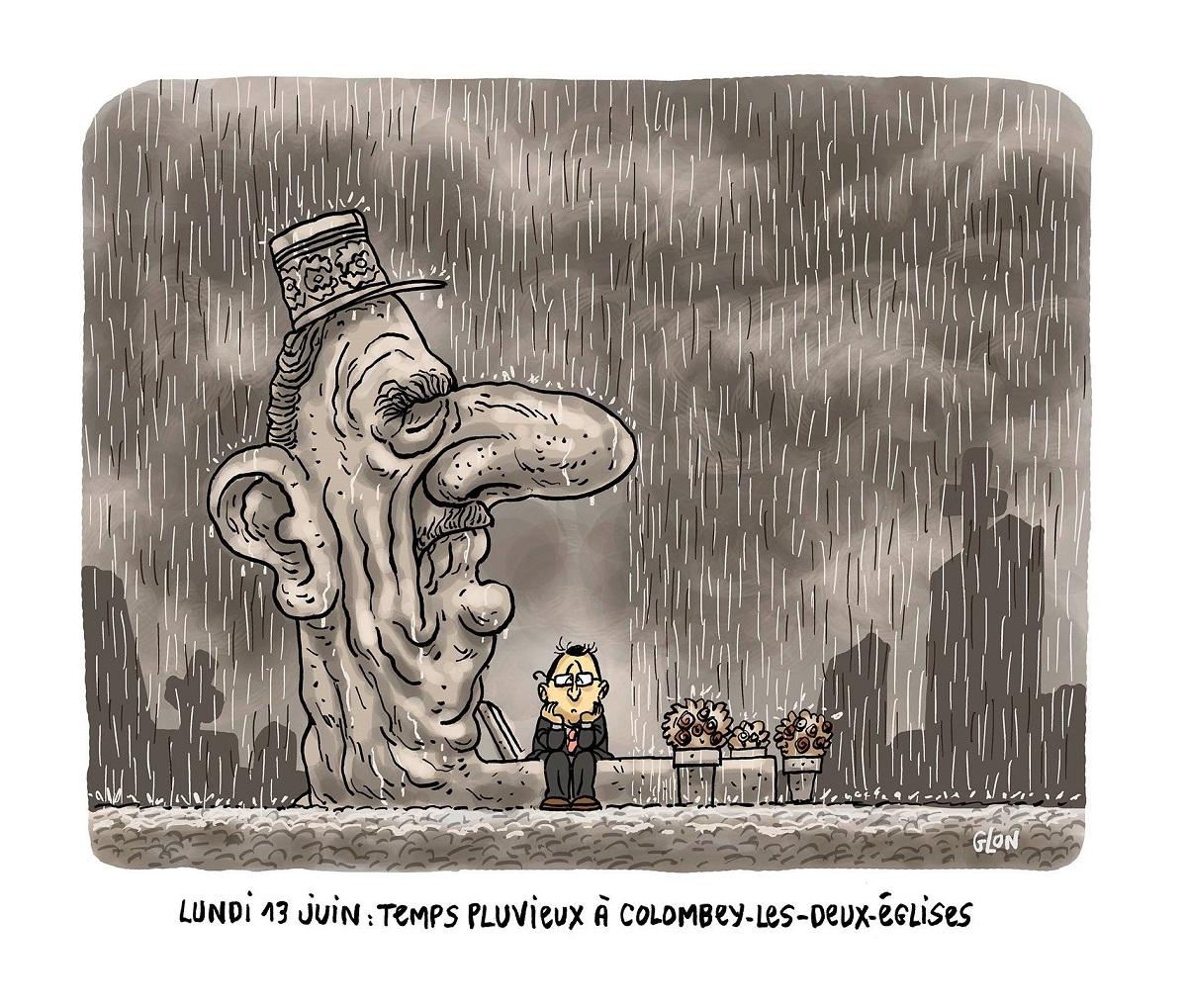 dessin d'actualité humoristique montrant François Hollande s'abritant de la pluie sous le buste de Charles de Gaulle