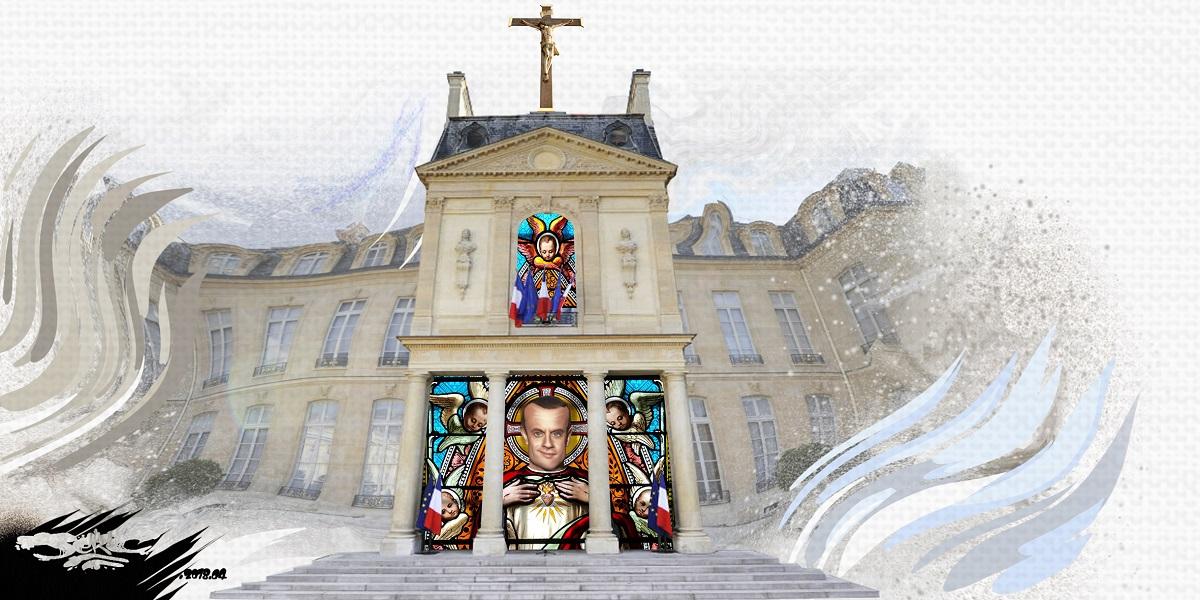 dessin d'actualité montrant l'Élysée transformée en une église macronienne