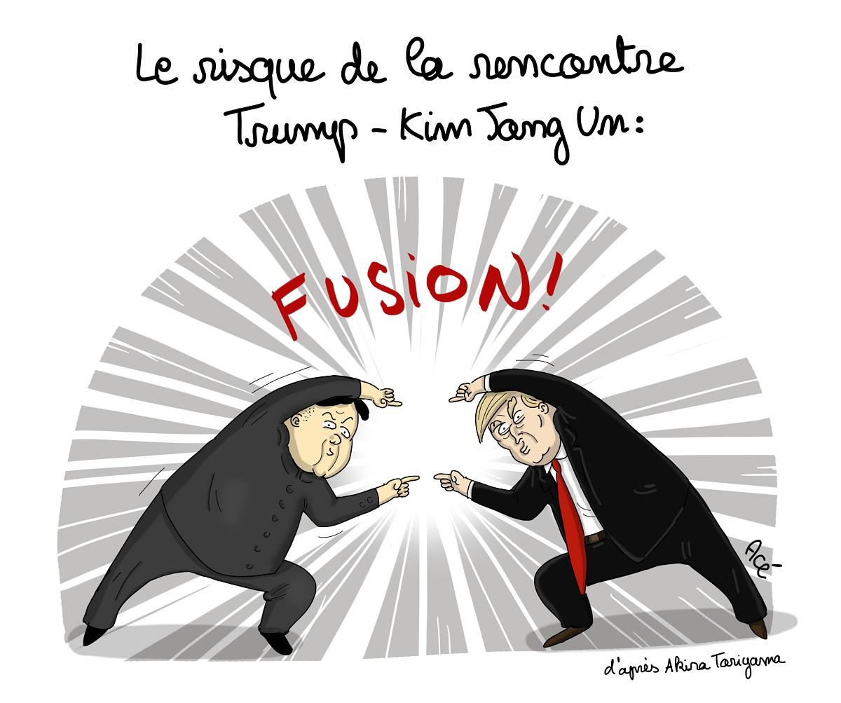 dessin d'actualité sut la rencontre entre Donald Trump et Kim Jong-un