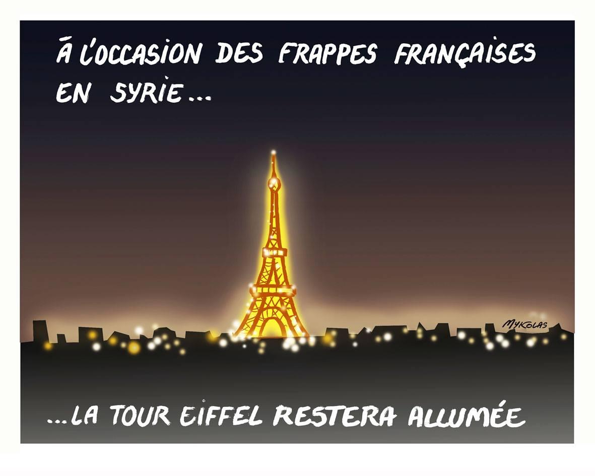 dessin d'actualité montrant la Tour Eiffel à l'occasion des frappes françaises en Syrie