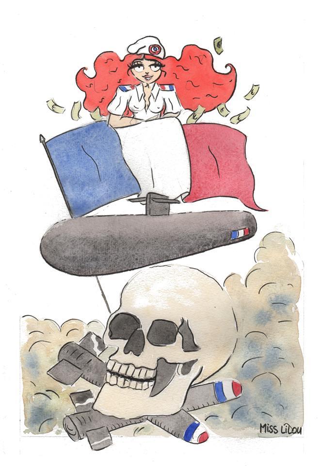 aquarelle montrant la France en tant de marchande d'armes de mort