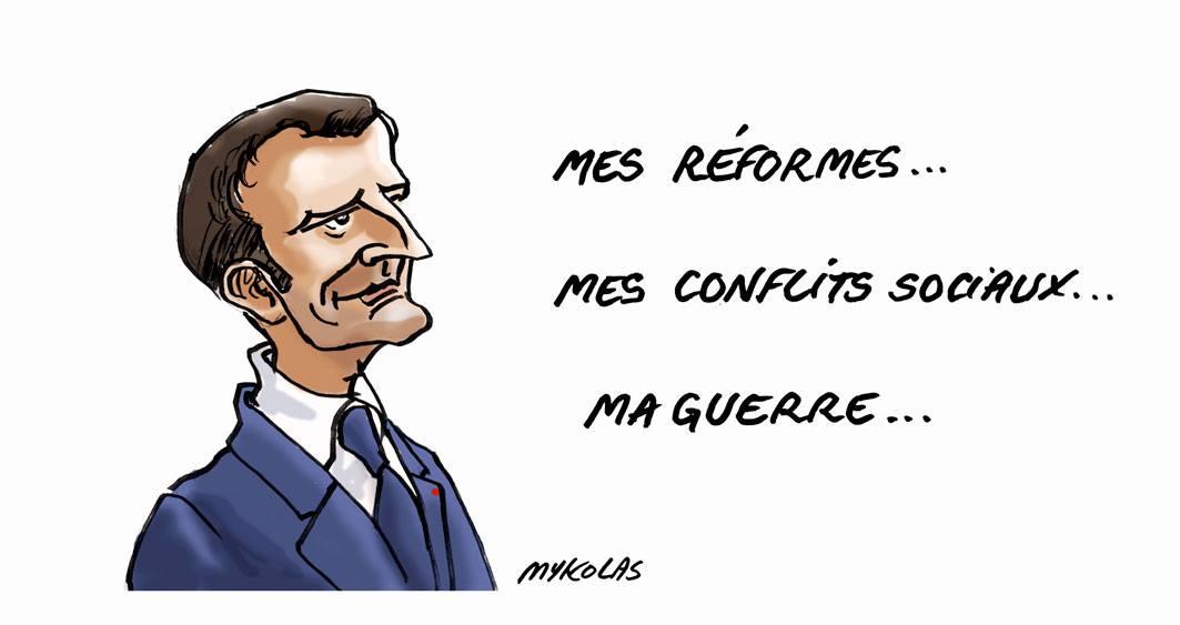 dessin d'actualité humoristique du portrait d'Emmanuel Macron satisfait