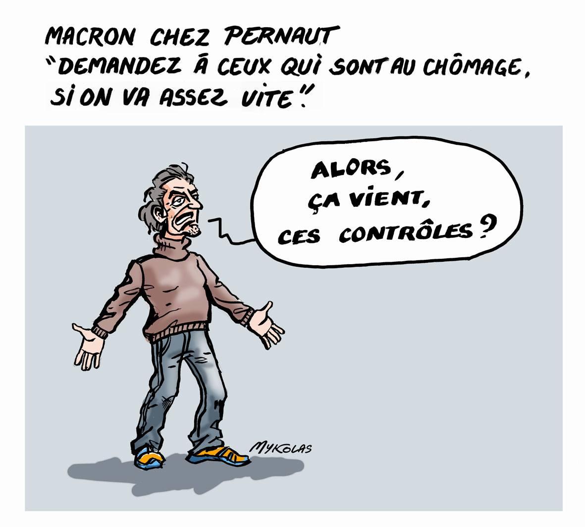 dessin d'actualité humoristique d'un chômeur s'impatientant d'être contrôlé