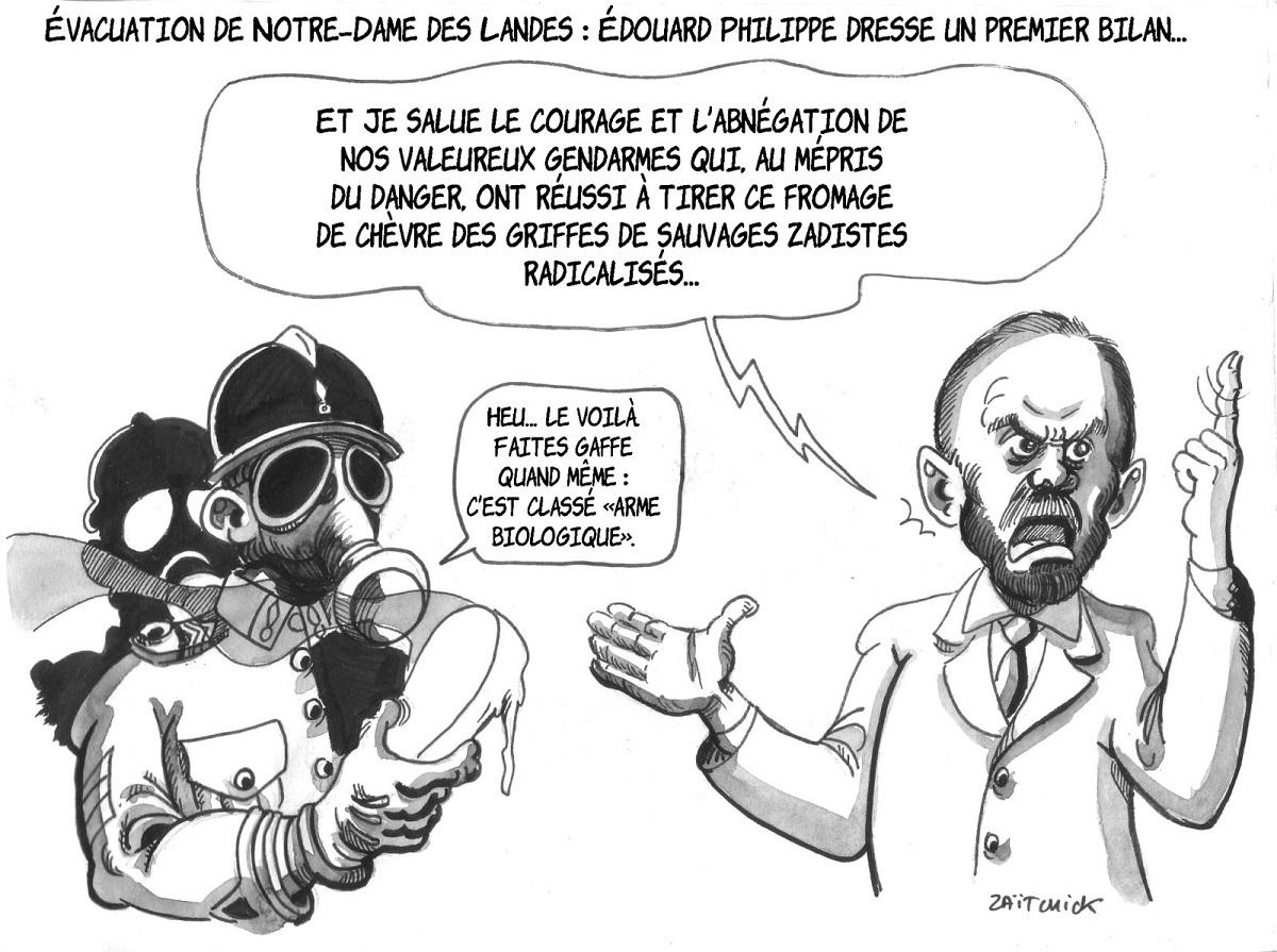 dessin d'actualité montrant Édouard Philippe dressant un premier bilan de l'évacuation de la ZAD