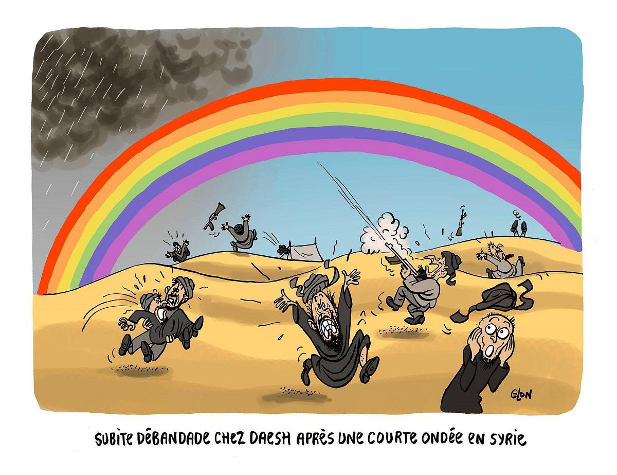 dessin d'actualité humoristique montrant les djihadistes de Daesh paniqués suite à l'apparition d'un arc-en-ciel aux couleurs LGBT