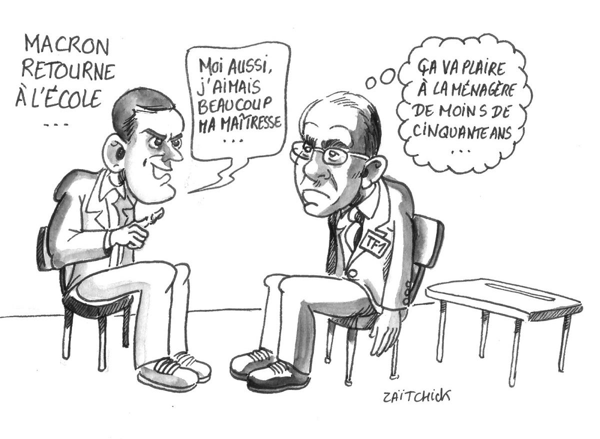 dessin d'actualité montrant Emmanuel Macron face à Jean-Pierre Pernaut
