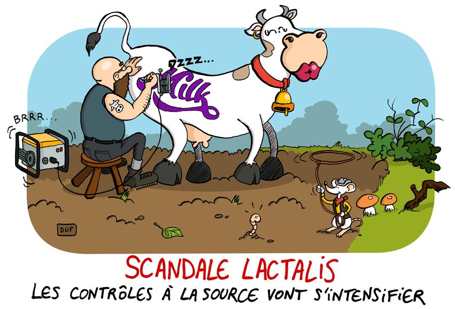 dessin d'actualité humoristique d'un tatoueur réalisant le logo Milka sur une vache