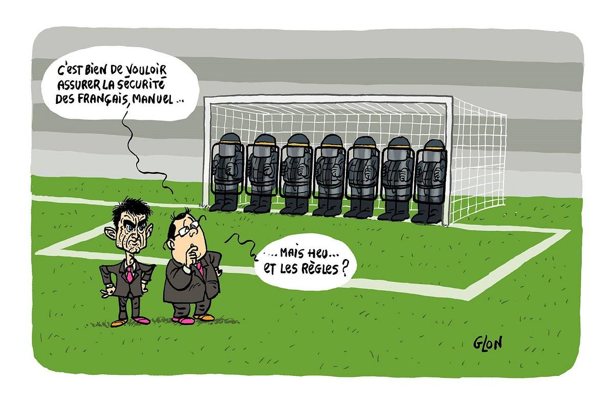 dessin d'actualité humoristique de Manuel Valls assurant la sécurité de l'équipe de France de football et François Hollande dubitatif