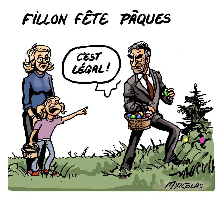 dessin d'actualité humoristique montrant François Filon ramassant des oeufs de Pâques