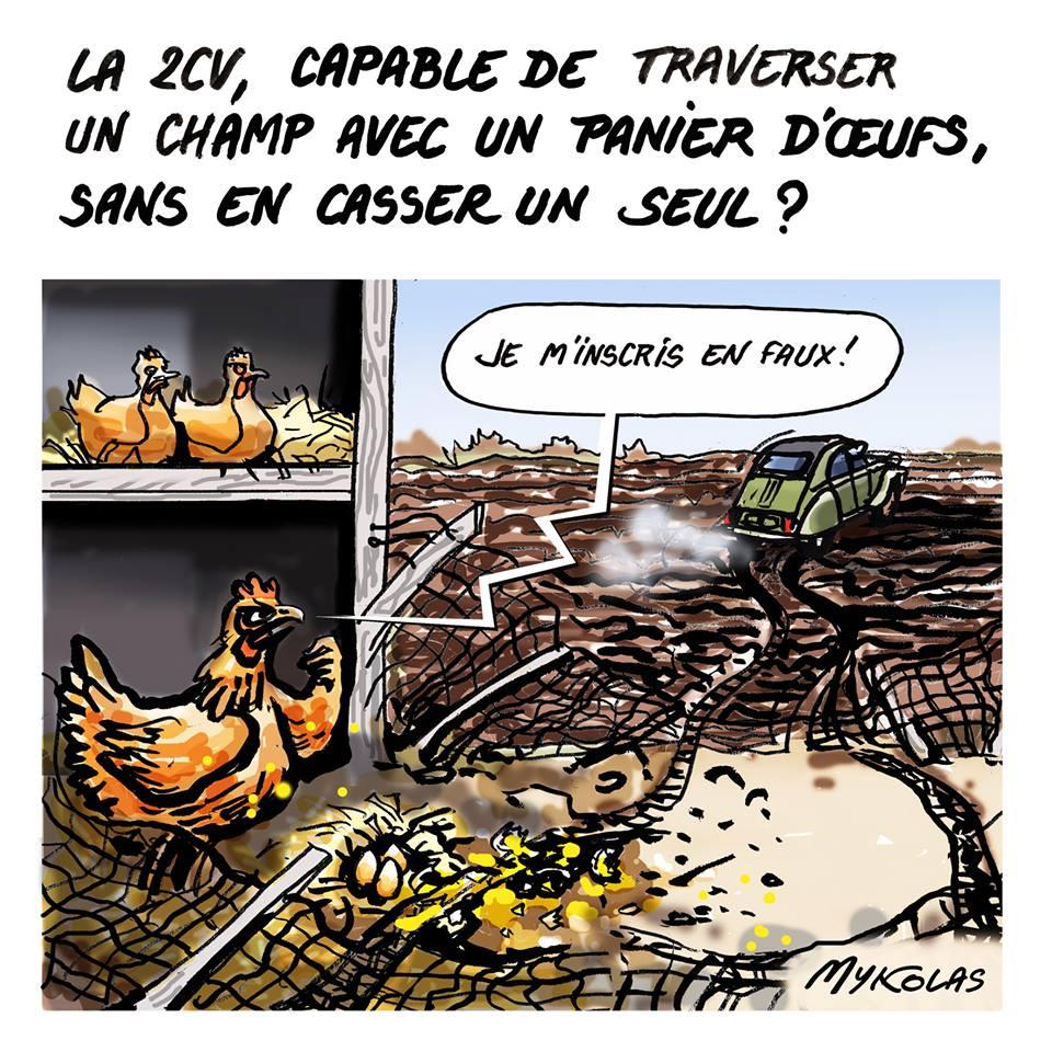 dessin d'actualité humoristique montrant une 2CV travsersant un champ en cassant des oeufs