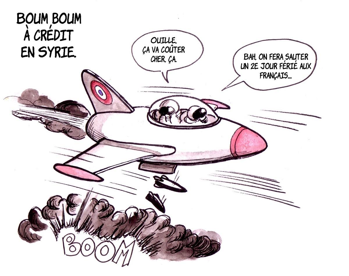 dessin humoristique d'actualité d'un avion français bombardant la Syrie