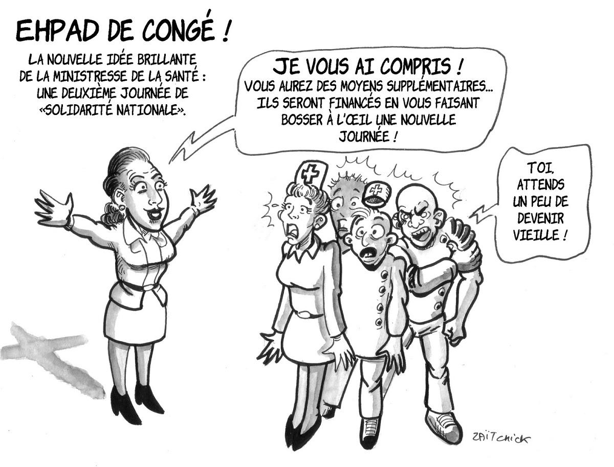 dessin d'actualité humoristique montrant Agnès Buzyn annonçant aux personnels des EHPAD un deuxième jour de solidarité nationale pour les aider