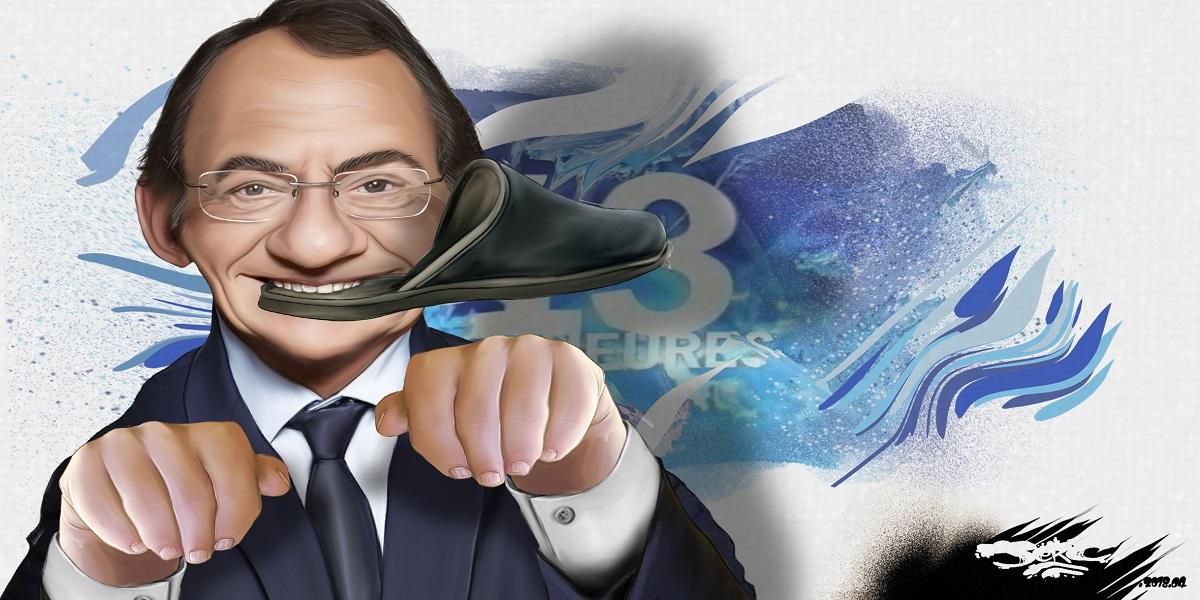 dessin d'actualité montrant Jean-Pierre Pernaut en gentil toutou d'Emmanuel Macron