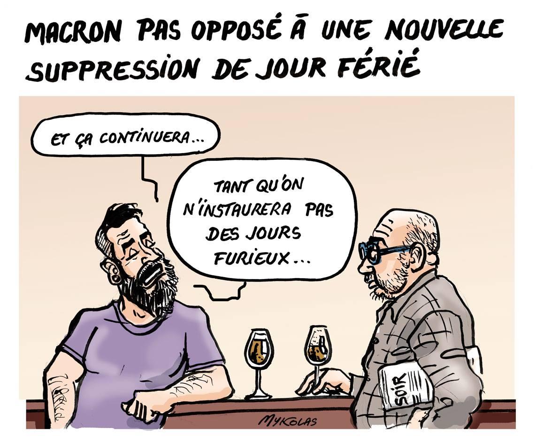 dessin d'actualité montrant la réaction de français à la possibilité d'une nouvelle suppression de jour férié
