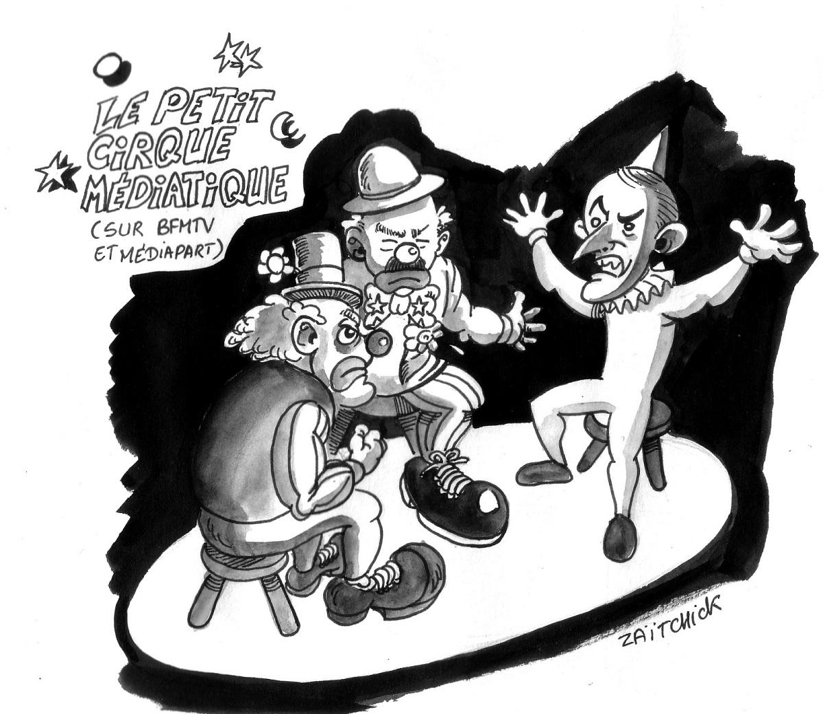 dessin d'actualité humoristique d'Emmanuel Macron, Edwy Plenel et Jean-Jacques Bourdin dans le petit cirque médiatique