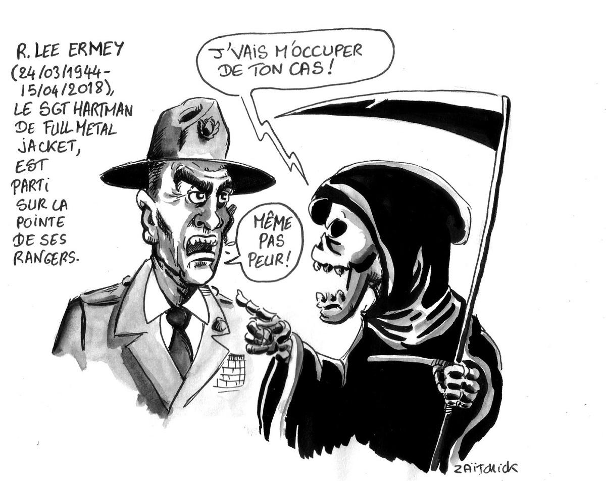 dessin d'actualité en hommage à R. Lee Ermey, Sergent Hartman de Full Metal Jacket