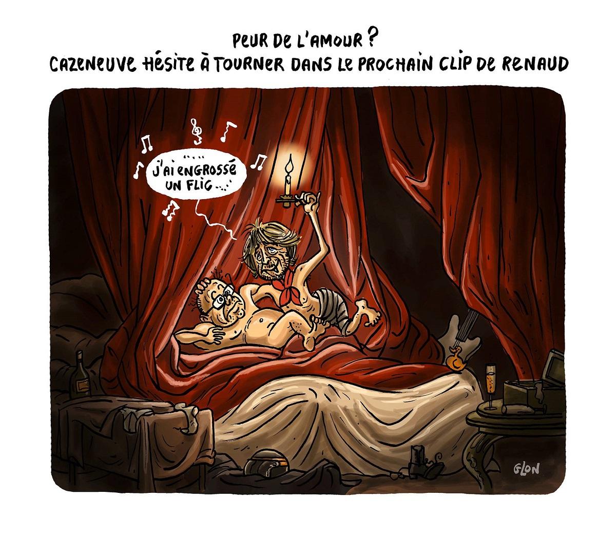 dessin d'actualité humoristique du nouveau clip de Renaud où il engrosse Bernard Cazeneuve